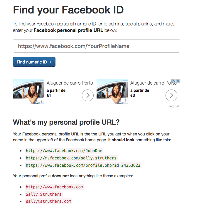 facebook page id